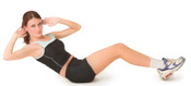 A woman performs a twiting crunch abdominal exercise
