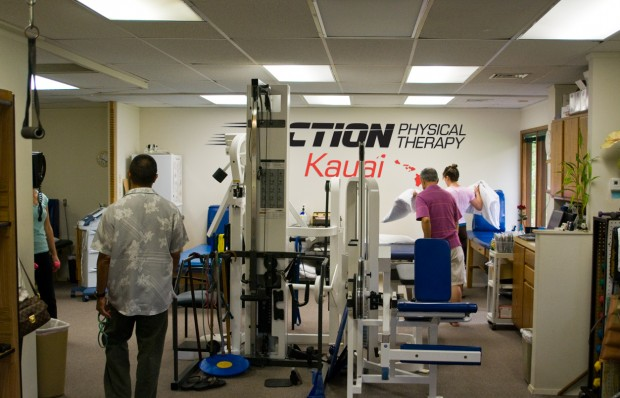 Inside the office at Action Physical Therapy, Kauai